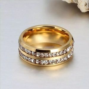 Jewelry - Gold Double Row Zircon Stainless Steel Ring